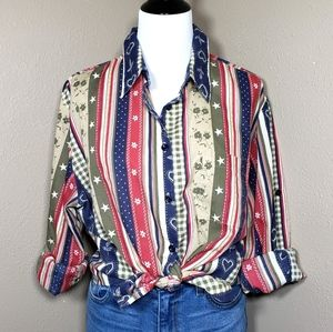 Vtg Western Americana Button Front Shirt X-Large